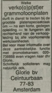 advertentie van Glorie
